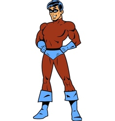 Masked superhero with arms akimbo vector