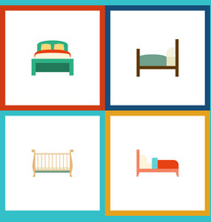Flat bedroom set of furniture cot bed and other vector
