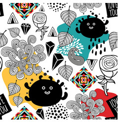 Endless pattern with cute monsters and abstract vector