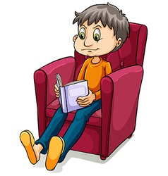 Boy sitting at the chair vector