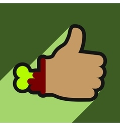 Flat with shadow icon zombie hand on a colored vector