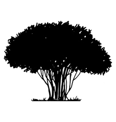 Tree and grass silhouette vector