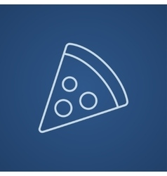 Pizza slice line icon vector