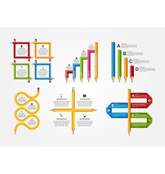 Set education pencil option infographics design vector