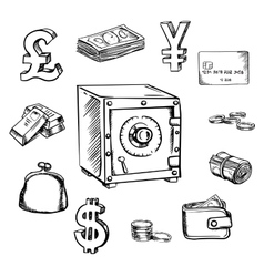 Money currency and finance sketch icons vector