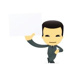 funny cartoon asian businessman vector image