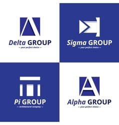 Minimalistic negative space greek letters vector
