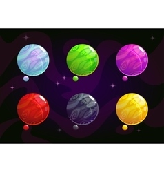 Cool bright colorful fantasy planets vector