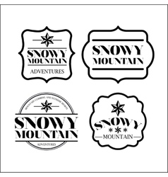 Snowy mountain frame set isolated icon design vector