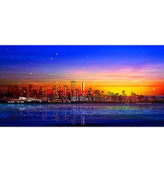 abstract city background with panorama of vector image
