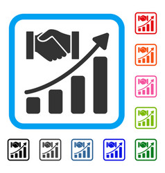 Acquisition hands growth chart framed icon vector