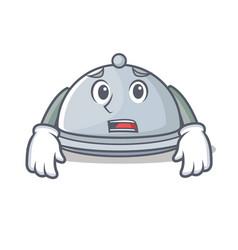 Afraid tray character cartoon style vector