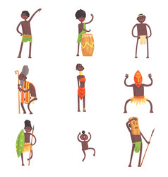 African tribe members dancing and doing religious vector