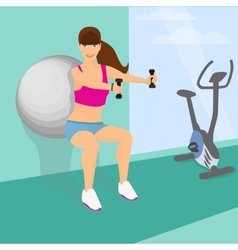 Beautiful woman squats with dumbbells using vector