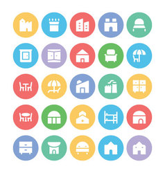 Building and furniture icons 12 vector
