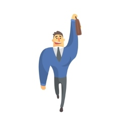 Businessman top manager in a suit catching taxi vector