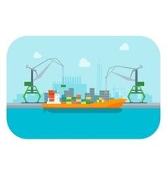 Cartoon Harbour of Port Town vector image