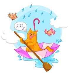 cat in the rain vector image vector image
