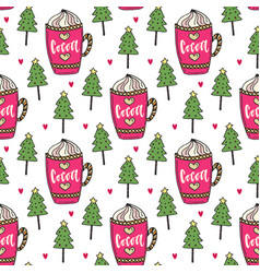 Cocoa background with winter trees sweet seamless vector