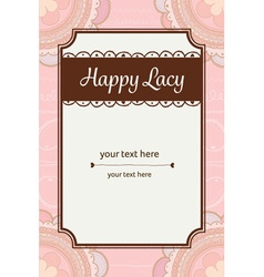 Cute pastel pink and brown bohemian scribble lace vector