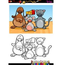 cute pets cartoon coloring book vector image vector image