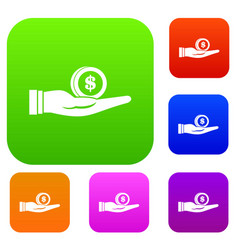 dollar in hand set collection vector image vector image