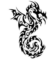Dragon tattoo tribal dragon black and white dragon vector