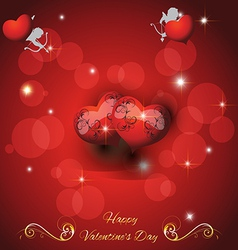 Festive red background with two hearts cupid and t vector image vector image
