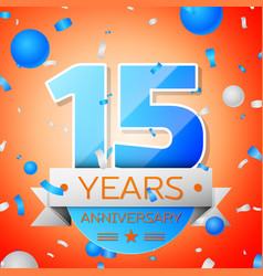 Fifteen years anniversary celebration vector