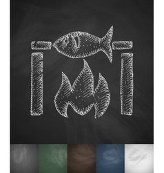 Fish bbq icon hand drawn vector