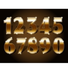 Golden numbers set vector image