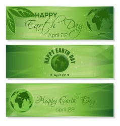 Green banners set for earth day april 22 vector