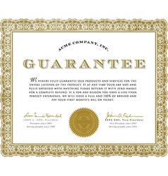 Guarantee certificate vector