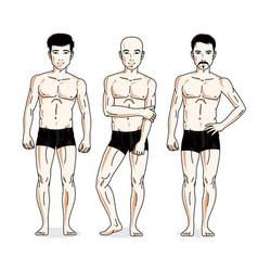 Handsome men posing in black underwear people set vector