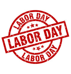 Labor day round red grunge stamp vector
