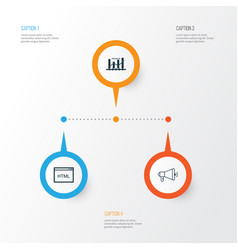 Marketing icons set collection of media campaign vector