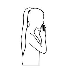 Monochrome contour of half body girl praying vector