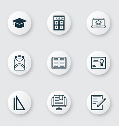 set of 9 education icons includes e-study vector image vector image