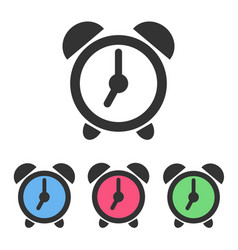 Set of alarm clock icons with color clockfaces vector