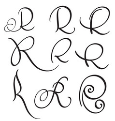 set of art calligraphy letter r with flourish of vector image