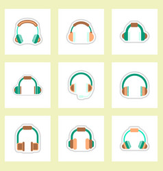 set of color label design collection of music vector image