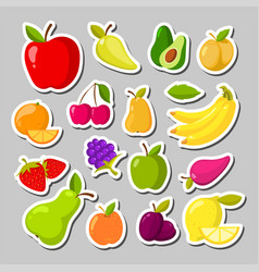 set of cute fruits in the form of a stickers vector image vector image