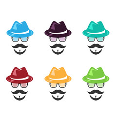 set of face wear hat vector image