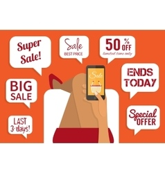 Shopping addiction sale signs flat vector