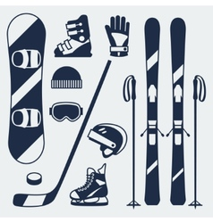 Winter sports equipment icons set in flat design vector image