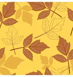 yellow seamless background with leaves-01 vector image