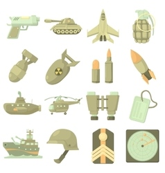 Military icons set cartoon style vector