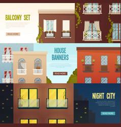 Balcony house banners set vector