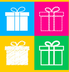 gift box sign four styles of icon on four color vector image
