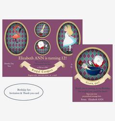 Alice in wonderland royal croquet birthday vector